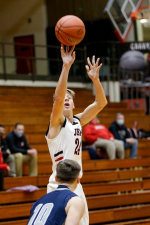 Lafayette Jeff's Jacob Collicott (24) shoots during the first quarter of a Purdue Federal Credit Union Classic game, Thursday, Dec. 3, 2020 in Lafayette.