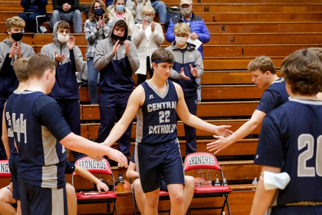 Central Catholic's Clark Barrett (22) is introduced before the first quarter of a Purdue Federal Credit Union Classic game, Thursday, Dec. 3, 2020 in Lafayette.