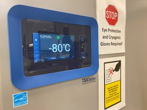 One version of the new COVID-19 vaccine must be stored at 80 degrees below freezing  Celsius or about 114 below freezing Fahrenheit. This is an ultracold freezer at University of Louisville Health.