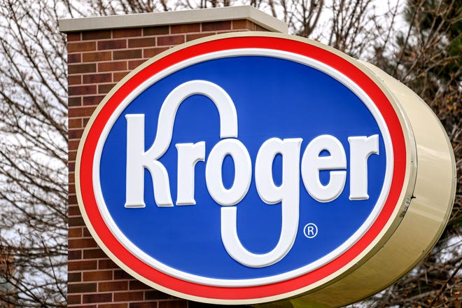 A sign at a Kroger store in Michigan is shown on Friday, Dec. 4, 2020. The grocery chain is closing two more locations in Illinois.