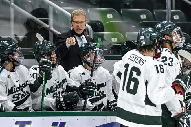 Michigan State's head coach Danton Cole talks with the team during a stop in the action against Minnesota in the second period on Thursday, Dec. 3, 2020, at Munn Ice Arena.