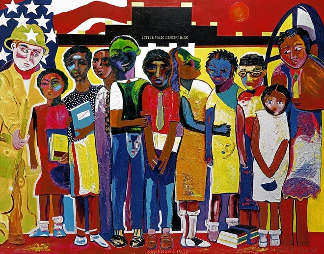 """George Hunt's painting of the """"Little Rock Nine"""" hung in the White House and was featured on a U.S. postage stamp."""