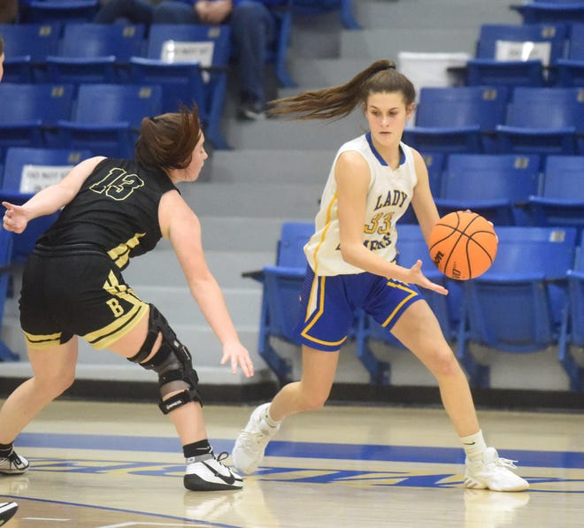 Mountain Home's Ali Czanstkowski dribbles around a Bentonville defender during a recent game at The Hangar.