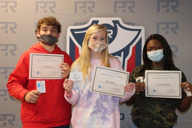Pike Road School High School students earn special AP Scholar designation, as well as $100 gift cards. Pictured from left to right, Jack Fuhrman, Gracis Branham, and Vanella Tadjuidje.