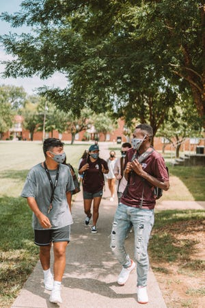 Cumberland University students on campus during the 2020-21 academic year when the school had a compressed calendar and a hybrid schedule amid COVID-19.