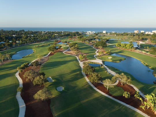 Aerial of the Naples Beach Hotel and Golf Club.