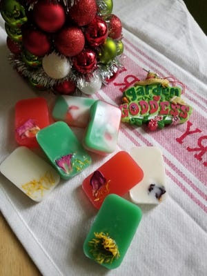 """In a recent NMSU Cooperative Extension """"Ready, Set, GROW!"""" webinar on holiday gift giving, Bernalillo County Extension Agent Sara Moran described how she makes handcrafted soaps decorated with materials from the garden, like rose petals and other flowers."""