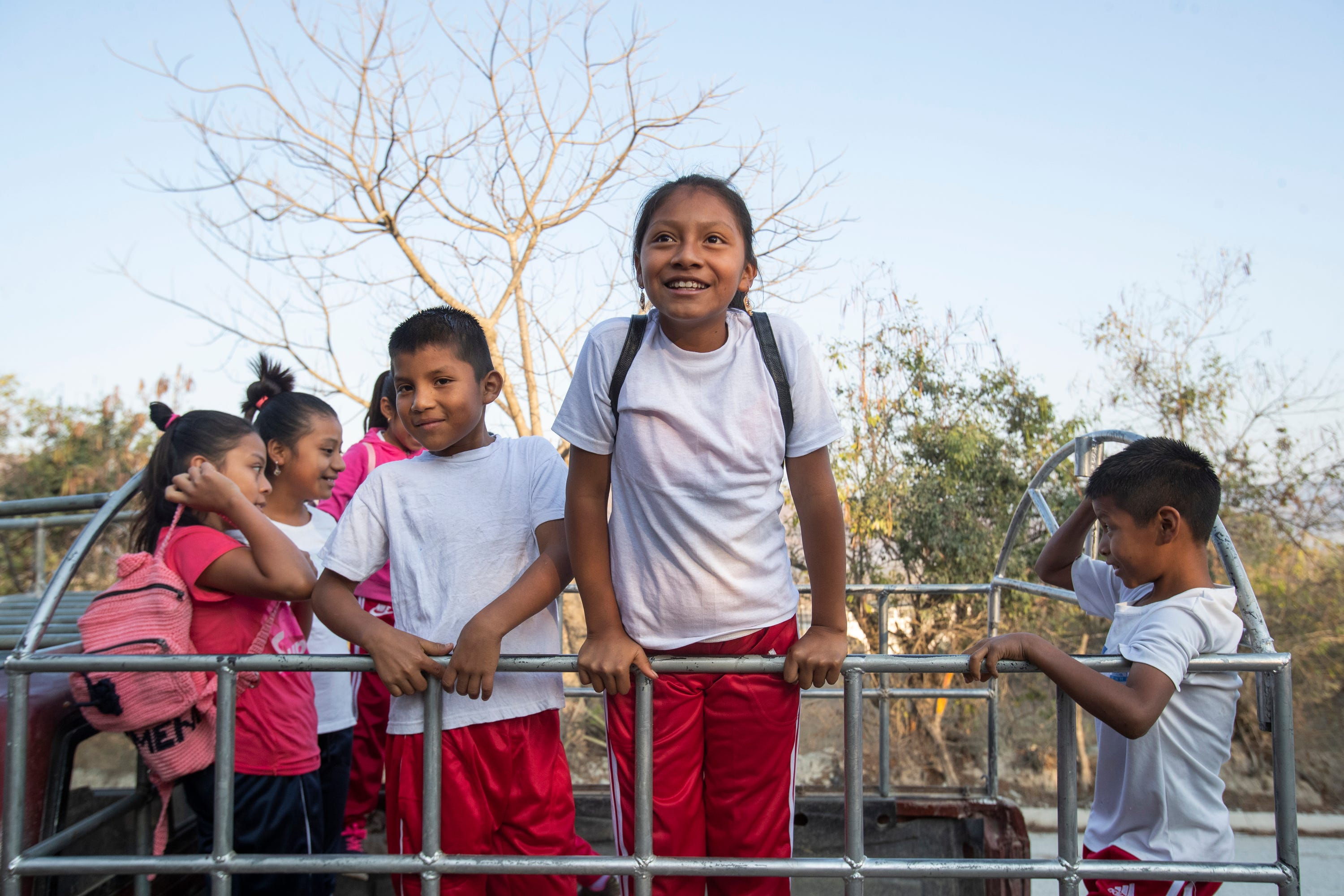 Melissa Sical is all smiles as she gets ready to attend a sporting competition with her schoolmates from her village in Baja Verapaz, Guatemala, in early March.