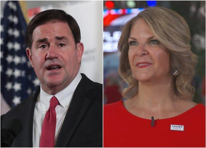 Arizona Gov. Doug Ducey and Kelli Ward, chair of the Arizona Republican party.