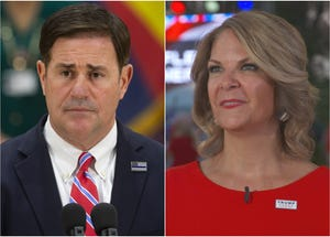 Arizona Gov. Doug Ducey and Kelli Ward, chair of the Arizona Republican party.