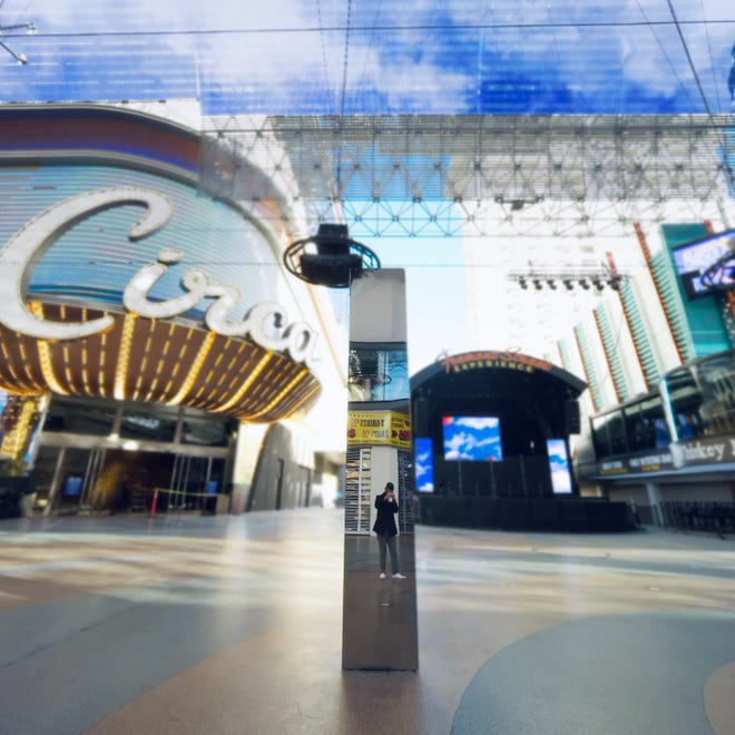 The monolith at the Fremont Street Experience, which appeared Friday morning.