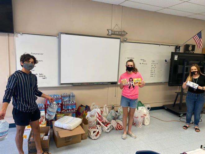 Socially distanced Monache High School students in Porterville.