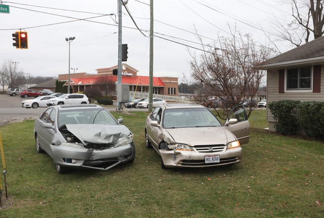 Both drivers were taken to Genesis Hospital as a precaution after a two-vehicle wreck at the intersection of Maple Avenue and Country Club Drive Friday afternoon. A Toyota was heading south on a Maple Avenue when it collieded with a Honda turning onto Country Club Drive. Both vehicles came to a rest in the front yard of 950 Country Club Drive.