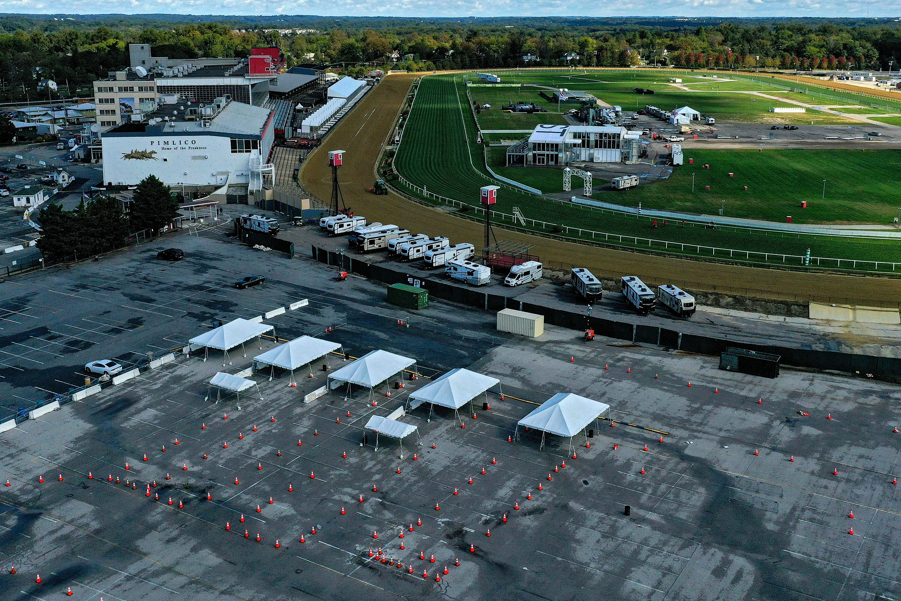In an aerial view from a drone, COVID-19 testing is seen Oct. 2, the day prior to the 145th Running of the Preakness Stakes at Baltimore's Pimlico Race Course.