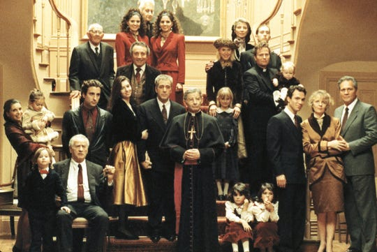"The cast of of ""Mario Puzo's The Godfather, Coda: The Death of Michael Corleone."""