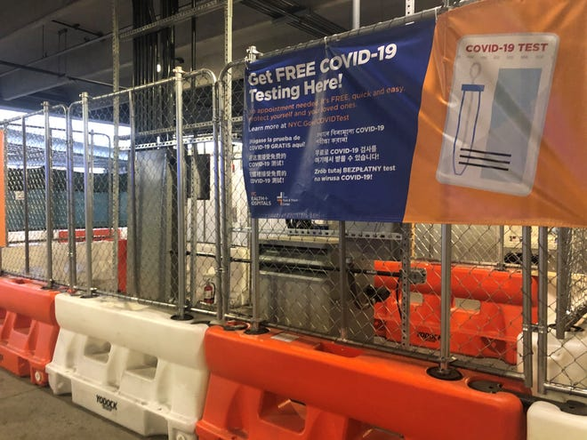 New York's LaGuardia Airport offers free rapid COVID-19 tests in a corner of a parking garage at Terminal B.