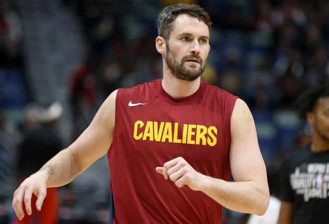 Cavaliers forward Kevin Love will miss 3-4 weeks with a strained calf. [Chuck Cook/USA TODAY Sports]