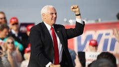 Vice President Mike Pence attends a rally in support of Sen. David Perdue (R-GA) and Sen. Kelly Loeffler (R-GA) on December 04, 2020 in Savannah, Georgia.