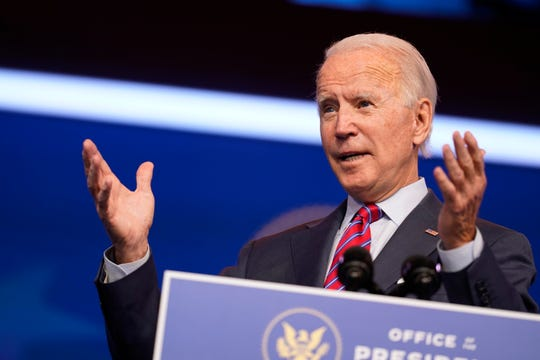 President-elect Joe Biden speaks about jobs at The Queen theater, Friday, Dec. 4, 2020, in Wilmington, Delaware.