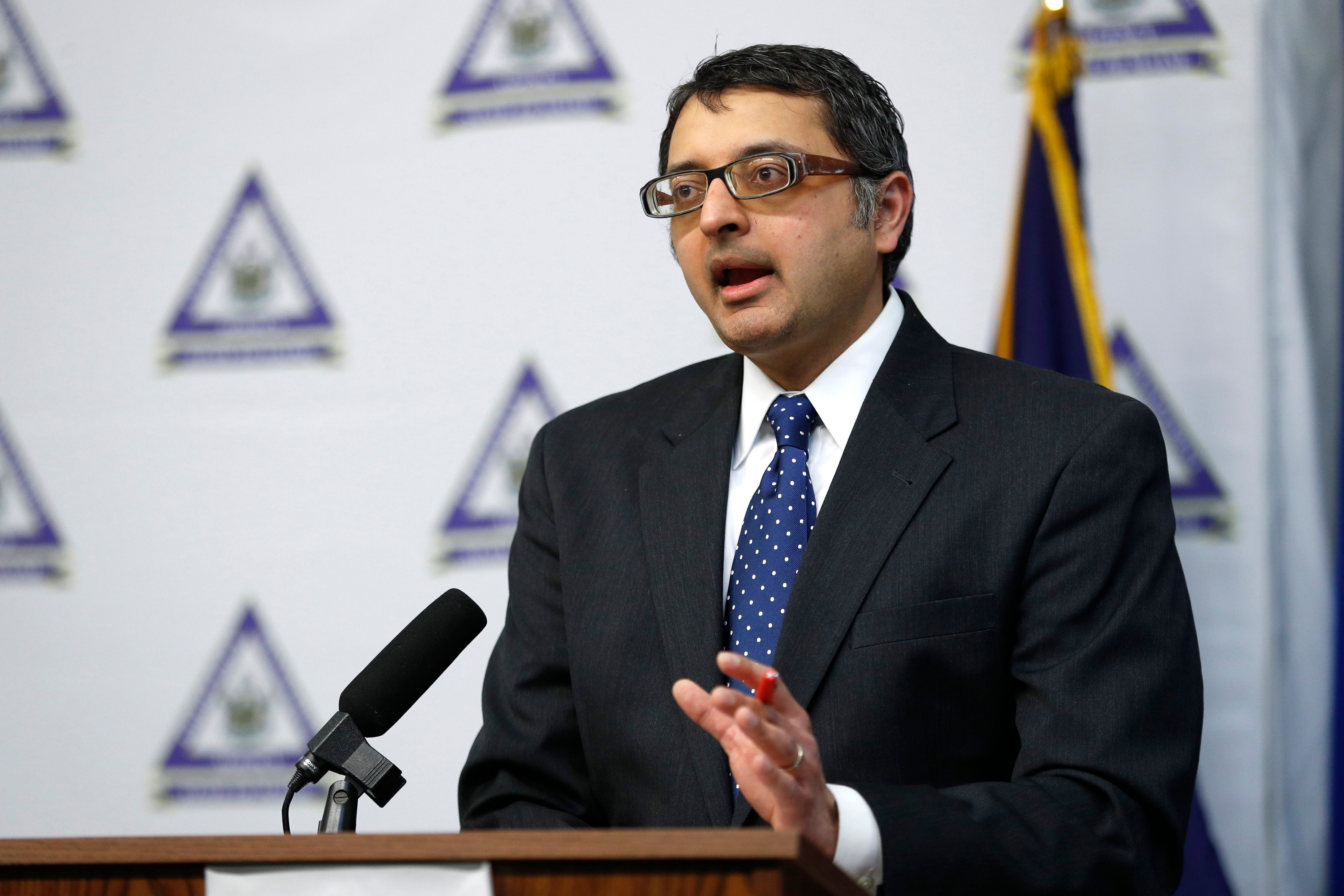Dr. Nirav Shah, director of the Maine Center for Disease Control and Prevention, speaks April 28 at a news conference in Augusta, Maine.