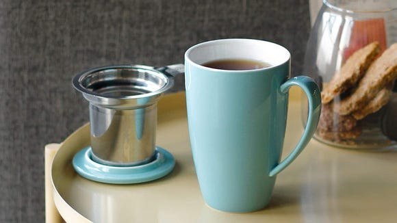 This pretty porcelain mug comes in a slew of vibrant hues.