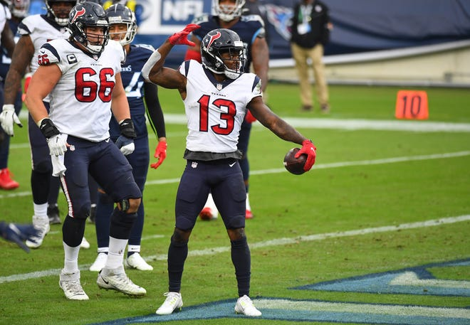 Houston Texans wide receiver Brandin Cooks celebrates a touchdown during a game against the Tennessee Titans in October. With No. 1 receiver Will Fuller suspended, Cooks becomes the focal point of the Texans' passing game versus the Colts on Sunday.