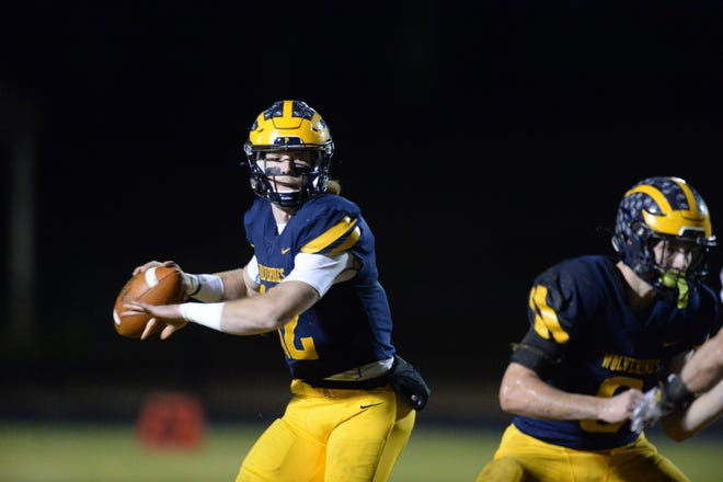 Prince Avenue Christian quarterback Brock Vandagriff, a UGA football commit, looks to pass in the Wolverines playoff game Friday night against Darlington High School. (Photo/Dean Legge, Dawg Post)