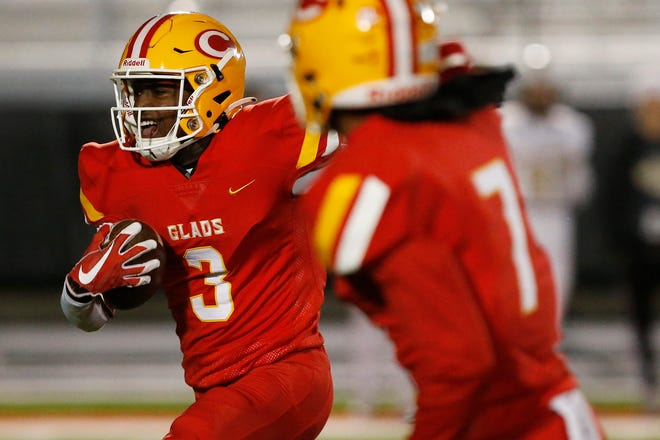 Clarke Central's Jairus Mack (3) breaks away for a touchdown during an GHSA high school playoff football game between Clarke Central and Calhoun in Athens, Ga., on Friday, Dec. 4, 2020. Calhoun won 33-14. (Photo/Joshua L. Jones, Athens Banner-Herald)