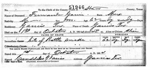 The death certificate for Civil War veteran Fernando Garcia reveals that he died in 1904 of a rattlesnake bite.