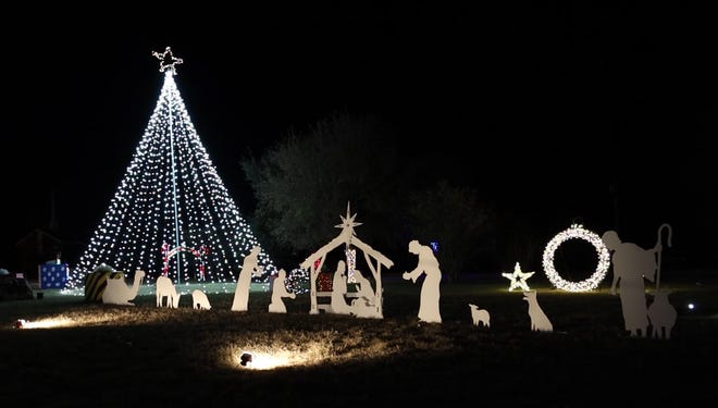 The City of Early's Christmas tree and nativity figures are pictured moments after the annual lighting of the three the night of Nov.30. The event was not held for the public because of COVID. This image is from a video made by former KTAB-TV reporter and current City of Early employee Ricky Ray.