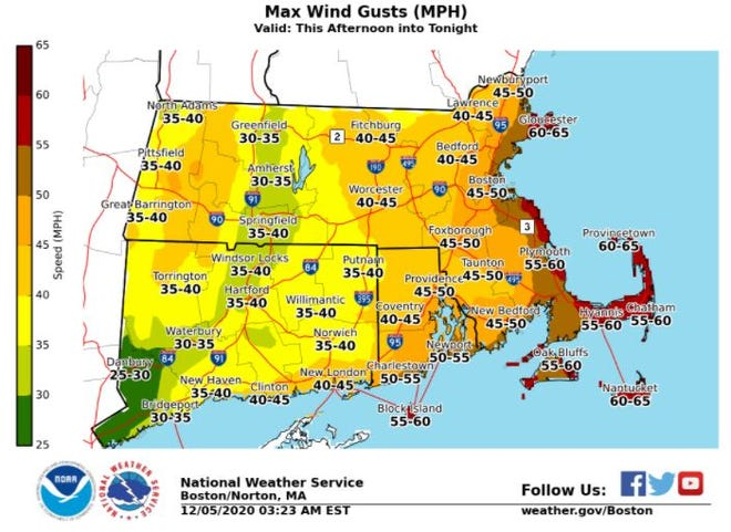 Wind gusts could reach 60 mph for parts of Cape Cod on Saturday