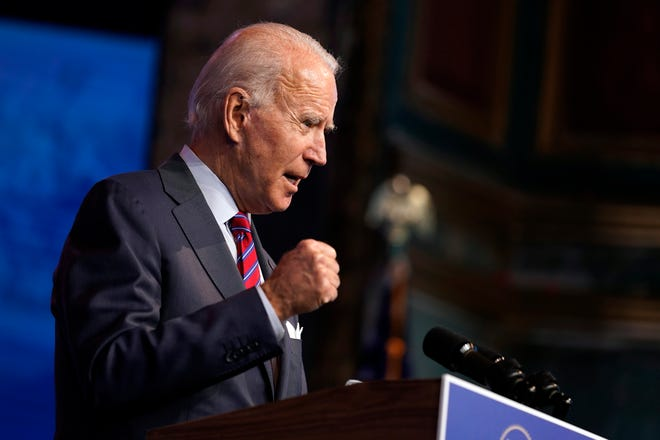 President-elect Joe Biden speaks about jobs at The Queen theater, Friday, Dec. 4, 2020, in Wilmington, Del.