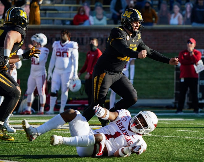 Missouri freshman kicker Harrison Mevis (92) celebrates after making a game-winning 32-yard field goal against Arkansas as time expired Dec. 5 at Faurot Field.