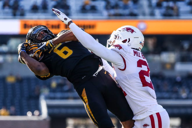 Missouri wide receiver Keke Chism (6) extends to make a catch against Arkansas during a game Saturday at Faurot Field.