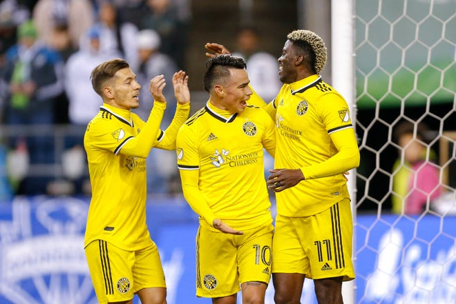 Gyasi Zardes (11), Lucas Zelarayan (10) and Pedro Santos (7), seen here during a game in March against the Seattle Sounders, have been key to the Crew's 2020 playoff run.