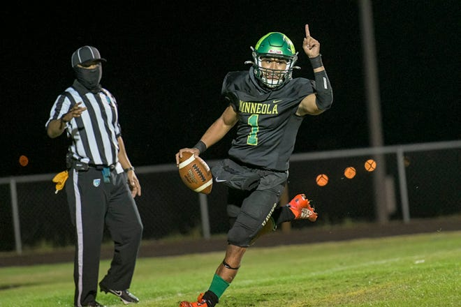 Lake Minneola's Robbie Sanders (1) celebrates as he scores a touchdown at the Class 6A-Region 2 championship game against Tampa Gaither in Minneola. [PAUL RYAN / CORRESPONDENT]
