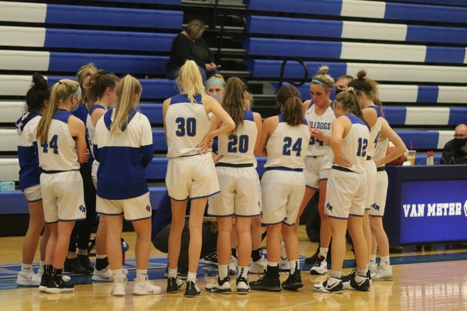 Van Meter girls basketball during a timeout on Friday, Dec. 4 against Interstate-35.