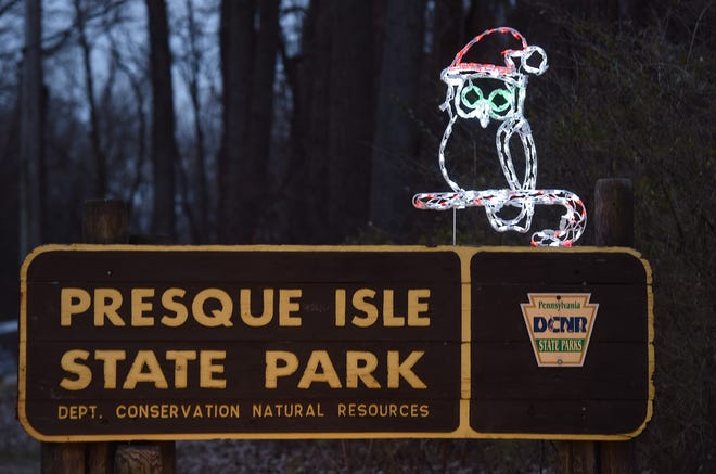 A lighted owl welcomes visitors to Presque Isle State Park on Dec. 5 during the Presque Isle Lights event.