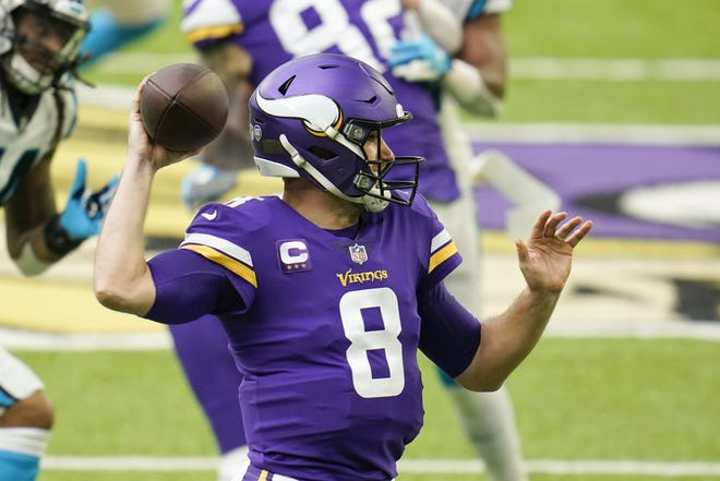 Vikings quarterback Kirk Cousins throws a pass against the Panthers on Nov. 29. The Jaguars face off against the Minnesota quarterback on Sunday.