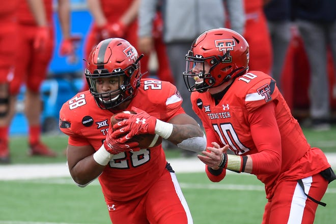 Texas Tech running back Tahj Brooks (28) will be trying to expand his role after he rushed for 255 yards last season as a true freshman.