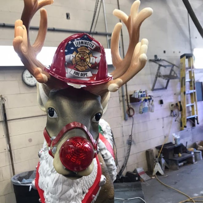 Rudolph is getting ready to take Santa Claus, his elves and the Leominster Fire Department's Ladder 2 around the City of Leominster on Sunday, Dec. 13 and Sunday, Dec. 20.