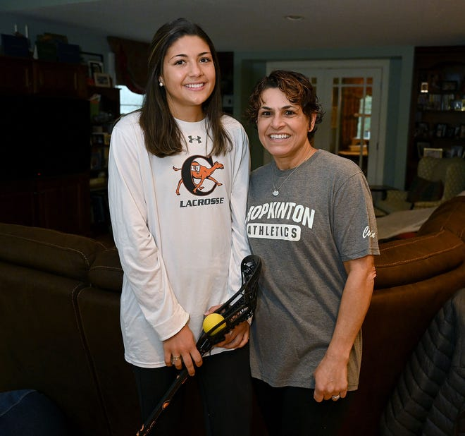 Maggie Dolan, left, a 2018 Hopkinton High School graduate, with her mother Jodi, who was also her coach when she played lacrosse for the Hillers. Dolan is now a redshirt sophomore at Campbell University.