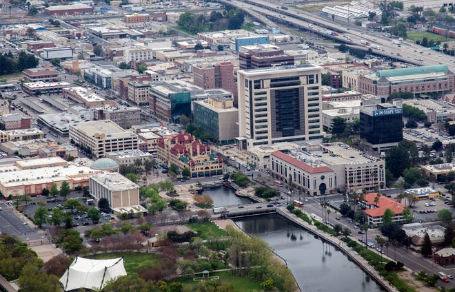 An aerial view of downtown Stockton.