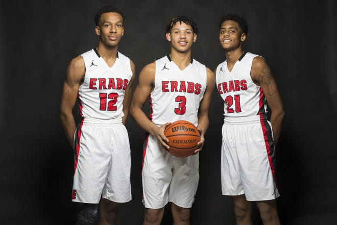 Former Rockford East players, from left, Sha'Den Clanton, Chris Burnell and Sincere Parker pose for a portrait on Jan. 18, 2019, at the Rockford Register Star photo studio. After leading East to the Class 4A state tournament that year, the three are now pursuing Division I dreams at the junior college level.