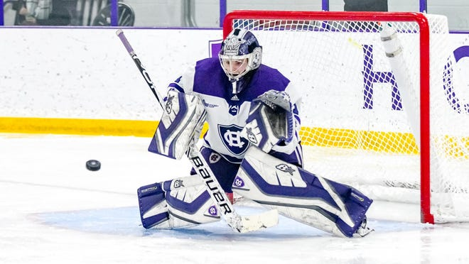 Senior Julia Pelletier made 43 saves for Holy Cross in a 4-1 loss to ninth-ranked Providence on Saturday at the Hart Center.