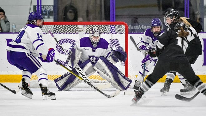 Holy Cross junior Jada Brenon had 29 saves Thursday night in a 3-0 loss to New Hampshire in the first round of the Hockey East Tournament.