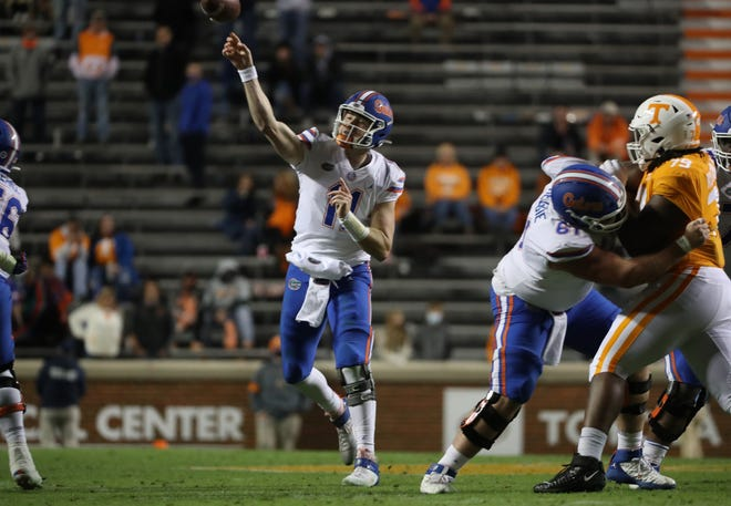 Florida quarterback Kyle Trask passes against Tennessee last Saturday at Neyland Stadium in Knoxville, Tenn.