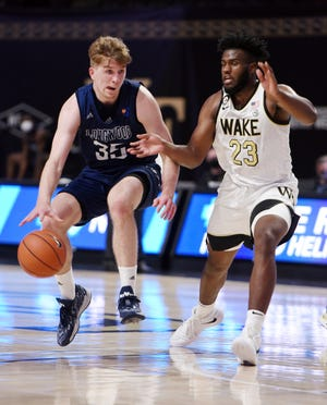 Wake Forest's Isaiah Wilkins, right, pressures Longwood's Jesper Granlund in a Nov. 27 game.