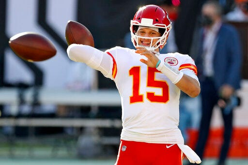 Kansas City Chiefs quarterback Patrick Mahomes throws a pass before an NFL football game against the Tampa Bay Buccaneers on Nov. 29 in Tampa, Fla. (AP Photo/Mark LoMoglio)