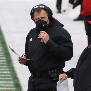 Rutgers head coach Greg Schiano on the sidelines in the first half during a Big Ten college football match up that saw Penn State defeat Rutgers 23-7 in Piscataway, NJ on December 5, 2020.